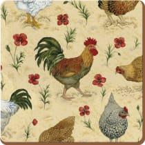 Chicken Print Cork-backed Coaster (Set of 4)
