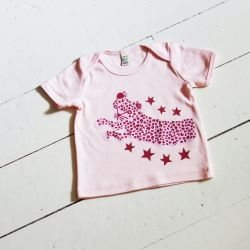 Leaping Leopard Organic Cotton Baby T-Shirt - Powder Pink