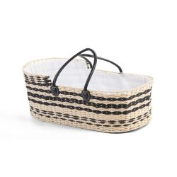 PRE ORDER - Lined Monochrome Moses Basket with Black Leather Handles + Mattress