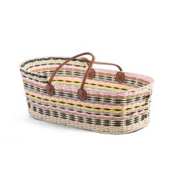 PRE ORDER - Lined Pastel Moses Basket with Brown Leather Handles + Mattress