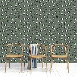 Sage Green Leopard Print Wallpaper