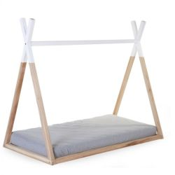 Tipi Cot Bed Natural & White 70x140