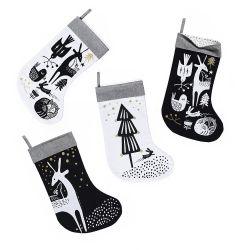 White Deer Christmas Stocking - Black/white/gold