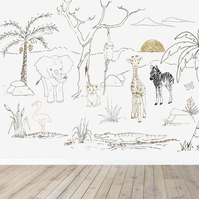 Baby Safari Animals Wall Mural