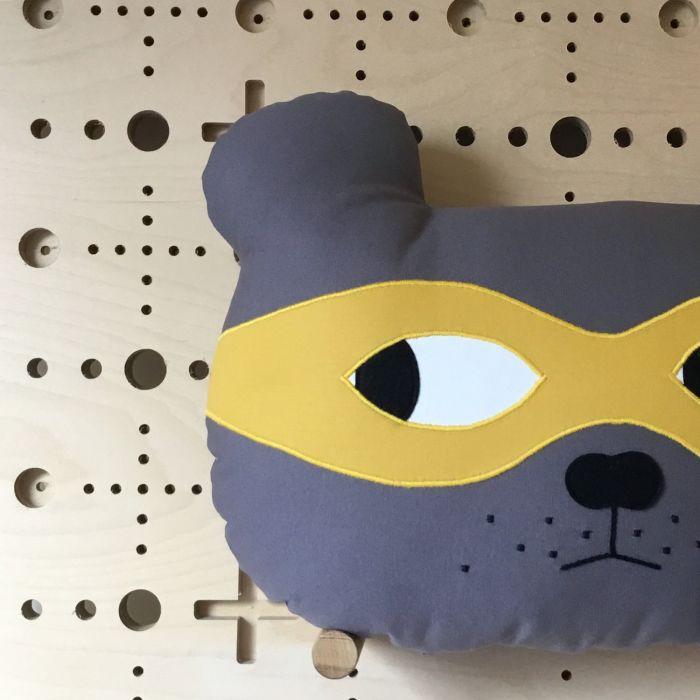 Bear Cushion - Grey With Yellow Mask