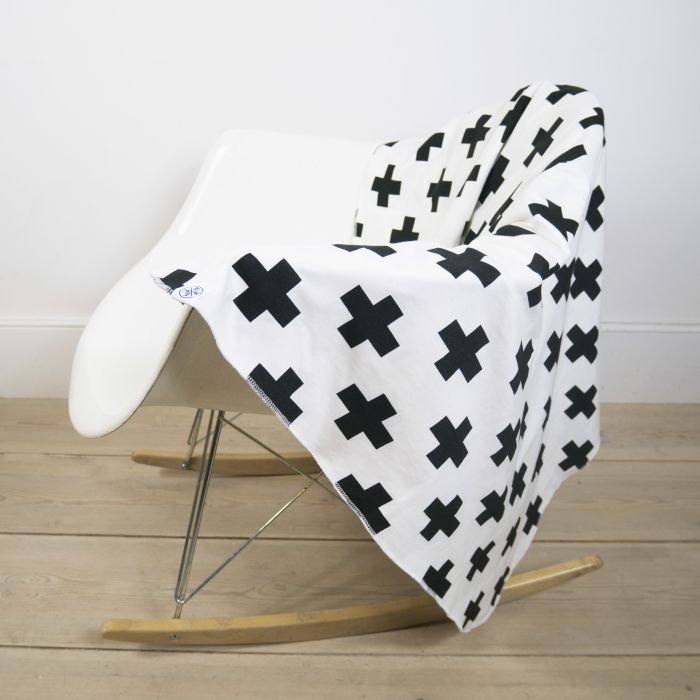 Blanket In White Cross Print