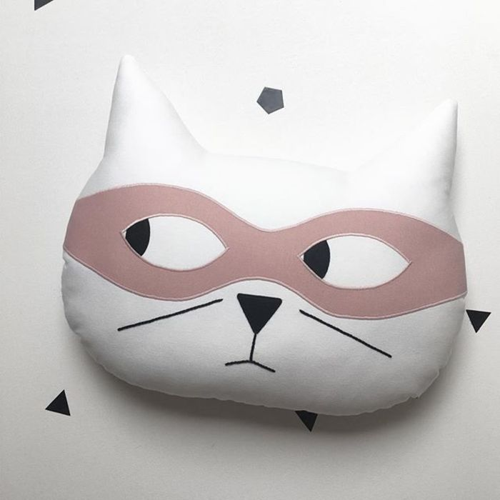 Children's Cat Cushion - White With Pink Mask