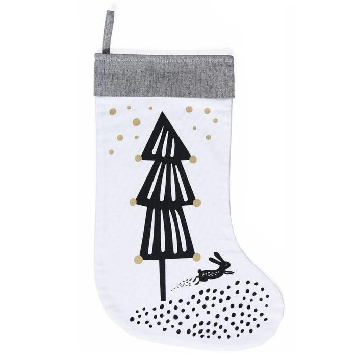 Christmas Tree Stocking - Black/white/gold
