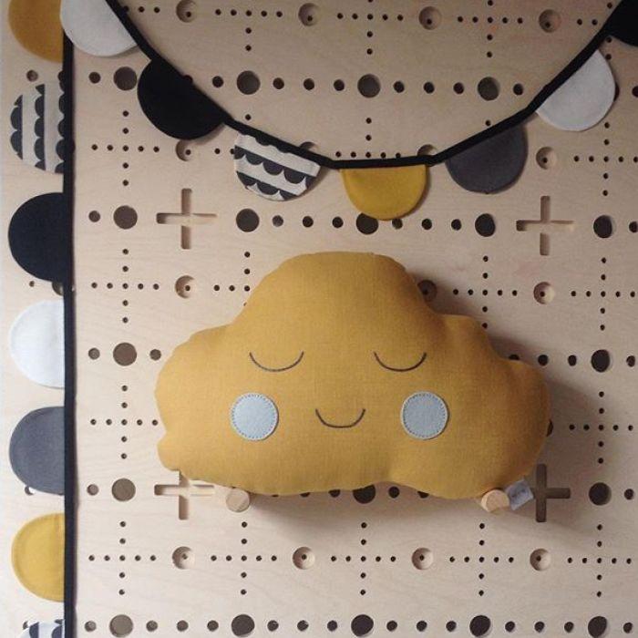 Cloud Cushion - Mustard Yellow Boy With Grey Cheeks