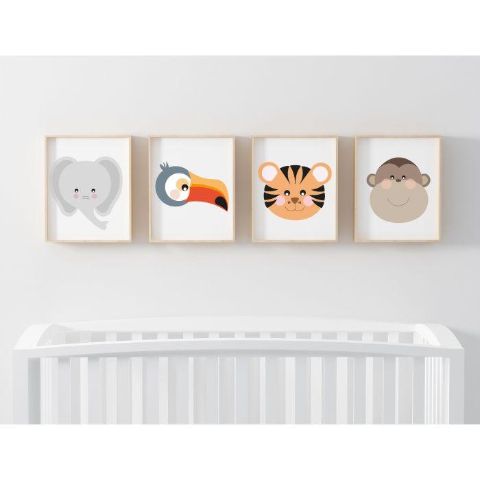 Jungle Set of 4 Prints - White