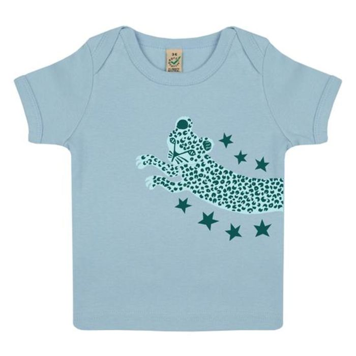 Leaping Leopard Organic Cotton Baby T-Shirt - Soft Blue
