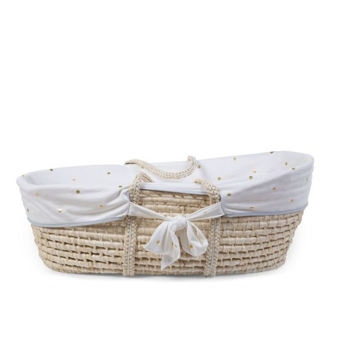 Moses Basket Removable White with Gold Dots Jersey Cover (cover only)