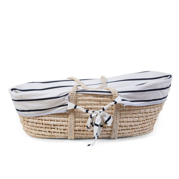 Moses Basket Removable White with Navy Stripe Jersey Cover (cover only)