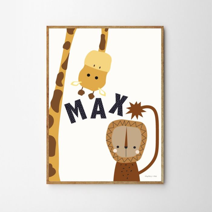 Mr Lion and Giraffe Personalised Children's Nursery Print