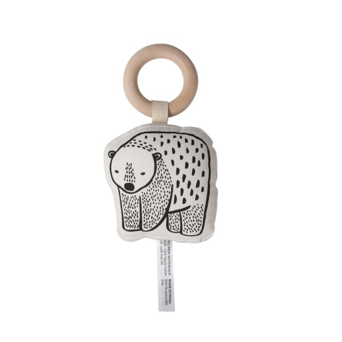 Organic Rattle With Wooden Ring - Bear