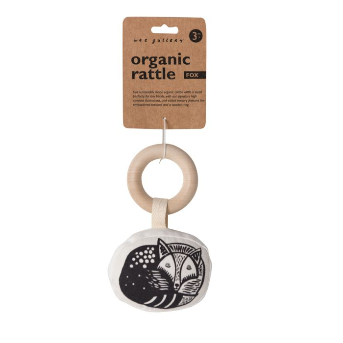 Organic Rattle With Wooden Ring - Fox