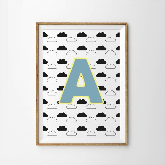 Personalised Initial Cloud Baby Children's Nursery Print - Blue