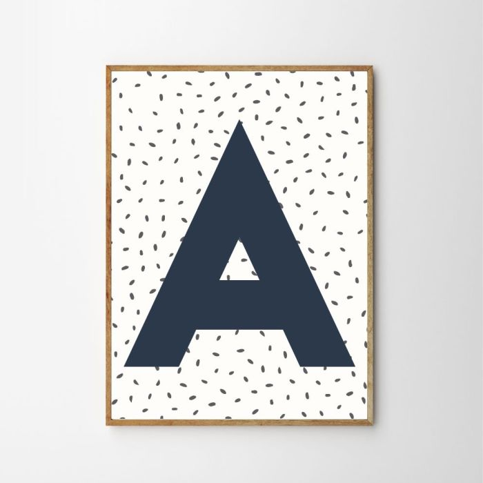 Personalised Initial Dotty Children's Nursery Print - Blue