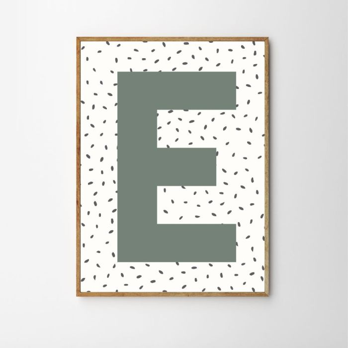 Personalised Initial Dotty Children's Nursery Print - Green