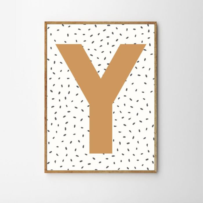 Personalised Initial Dotty Children's Nursery Print - Mustard