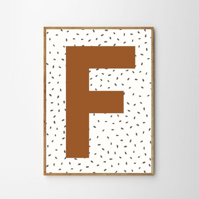 Personalised Initial Dotty Children's Nursery Print - Rust