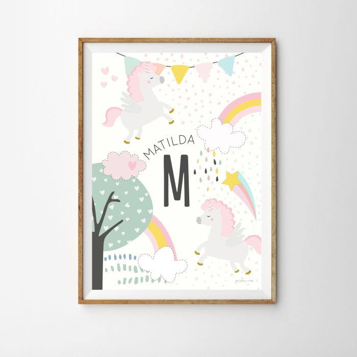 Personalised Initial Magical Unicorn Baby Children's Nursery Print