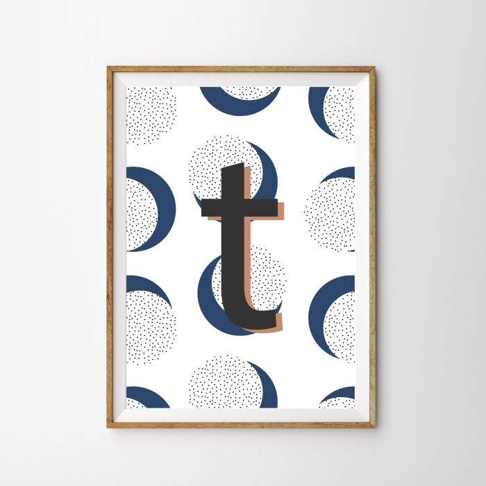 Personalised Initial Polka Dot Children's Nursery Print - Blue