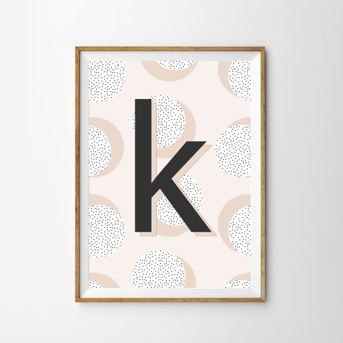 Personalised Initial Polka Dot Children's Nursery Print - Pink
