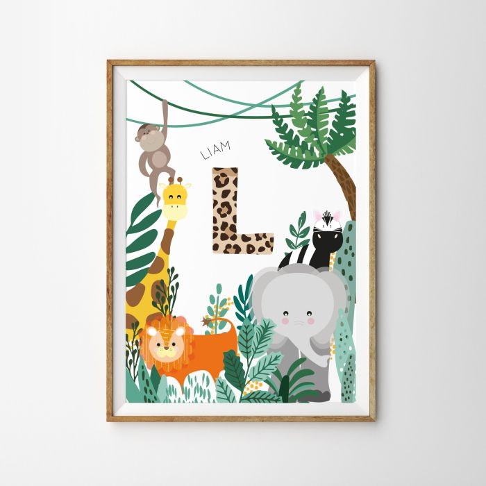 Personalised Initial Safari Baby Children's Nursery Print - White