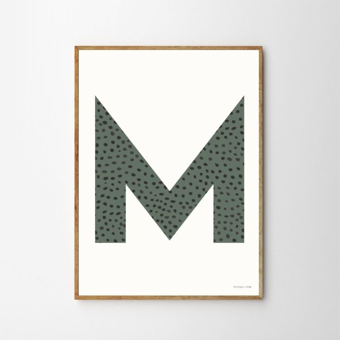 Personalised Initial Sprinkle Children's Nursery Print - Olive