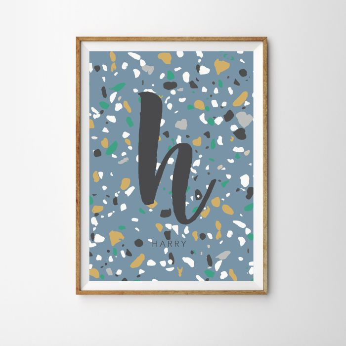 Personalised Initial Terrazzo Children's Nursery Print - Blue