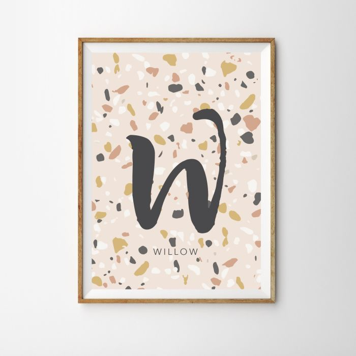 Personalised Initial Terrazzo Children's Nursery Print - Pink