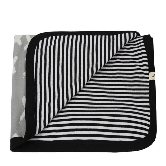 Reversible Jersey Blanket - Kisses/stripe Grey