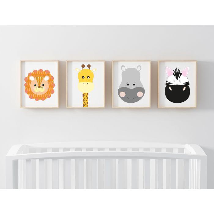 Safari Set of 4 Prints - White
