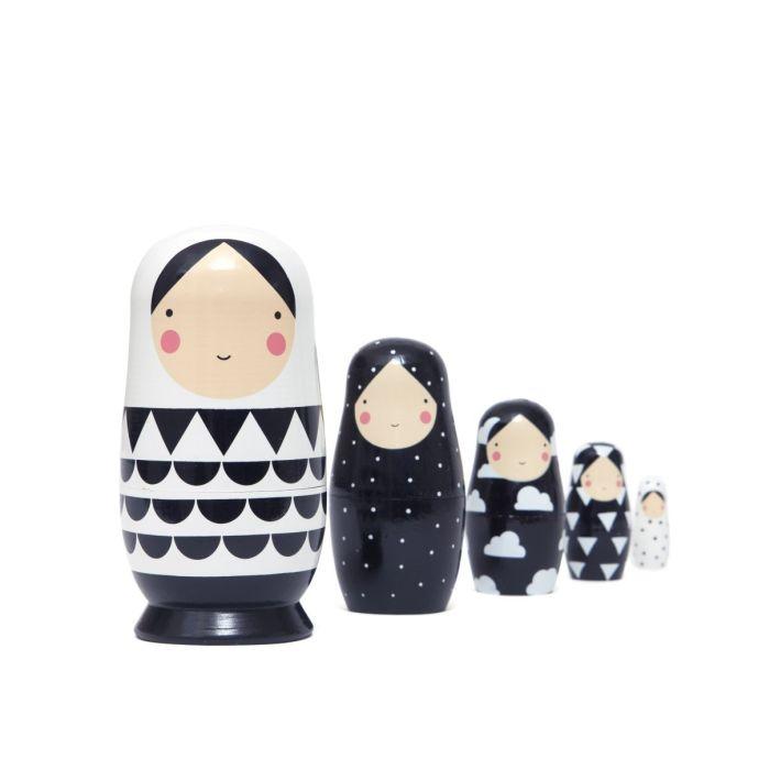 Set Of 5 Monochrome Nesting Dolls