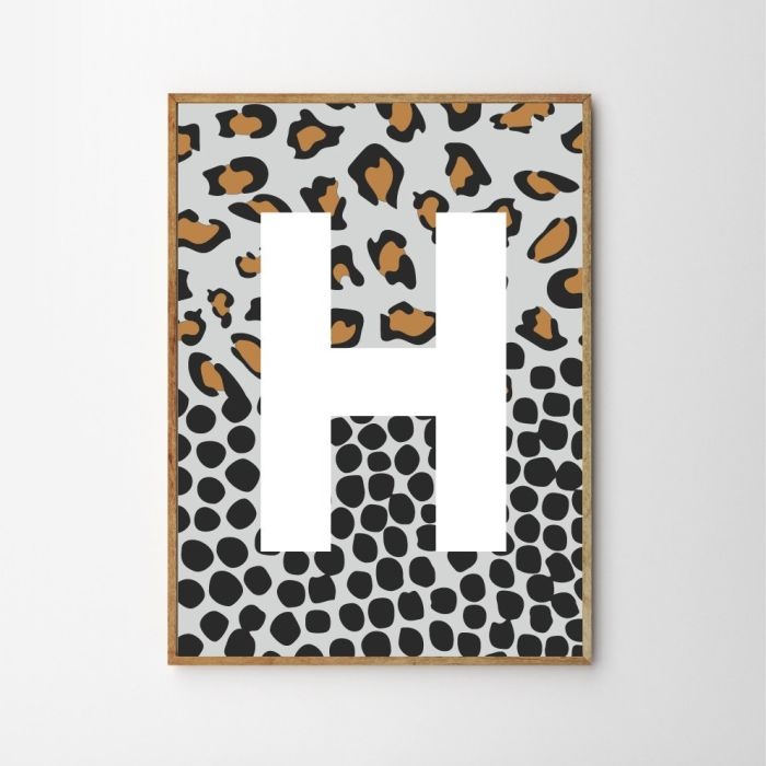 Spotty Leopard Personalised Children's Nursery Print - Light Blue