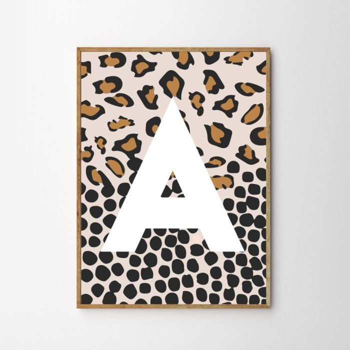 Spotty Leopard Personalised Children's Nursery Print - Pink