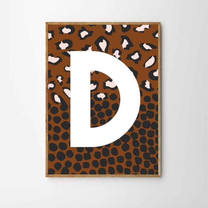 Spotty Leopard Personalised Children's Nursery Print - Rust