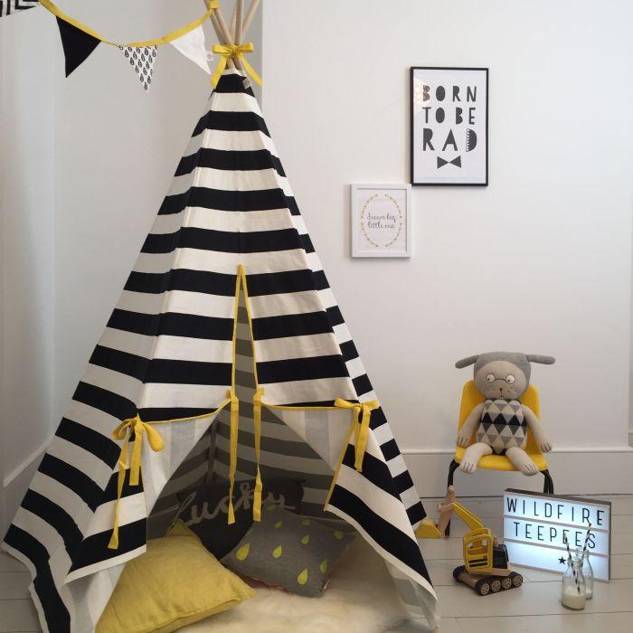 Stripe Yellow Trim Teepee