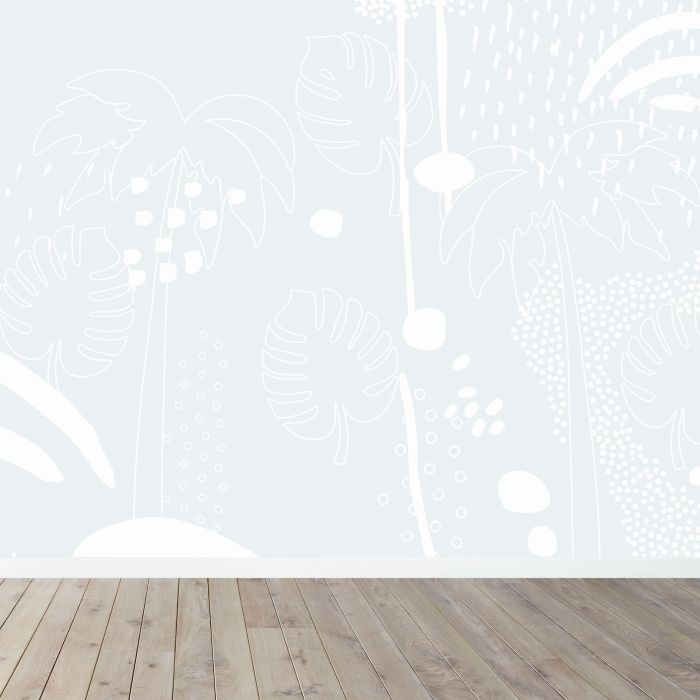 Tropical Palm Wall Mural - Blue