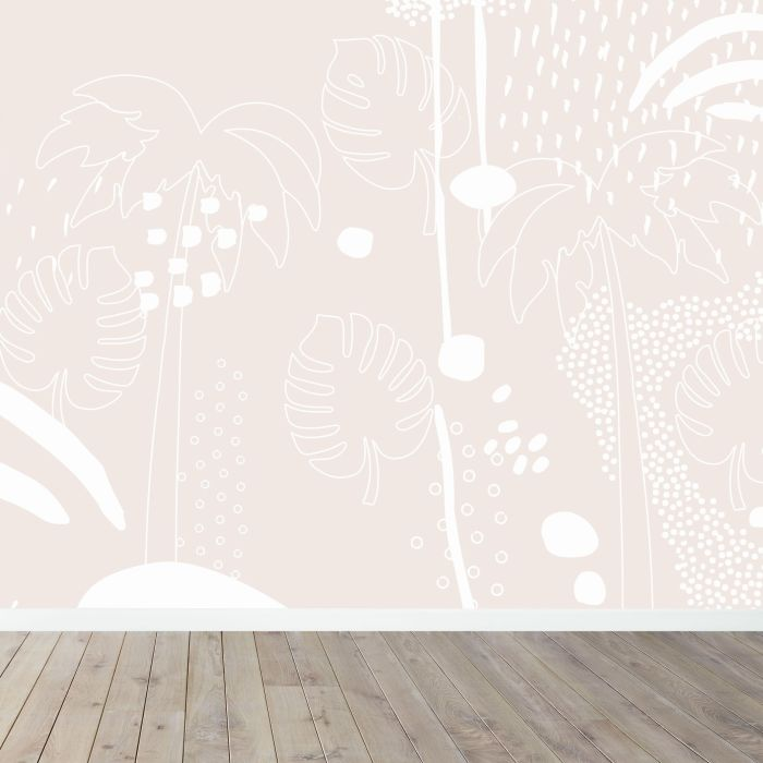 Tropical Palm Wall Mural - Pink / Coral