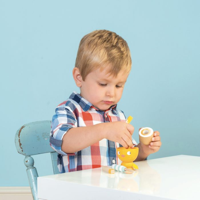 Wooden Egg Cup & Soldiers Set