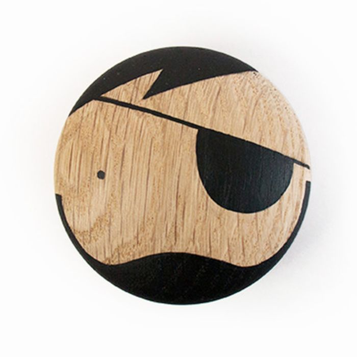 Wooden Pirate Wall Hook Knob