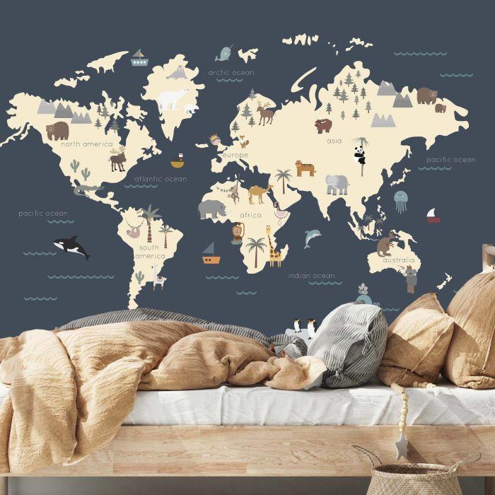 World Map Wall Mural - Navy