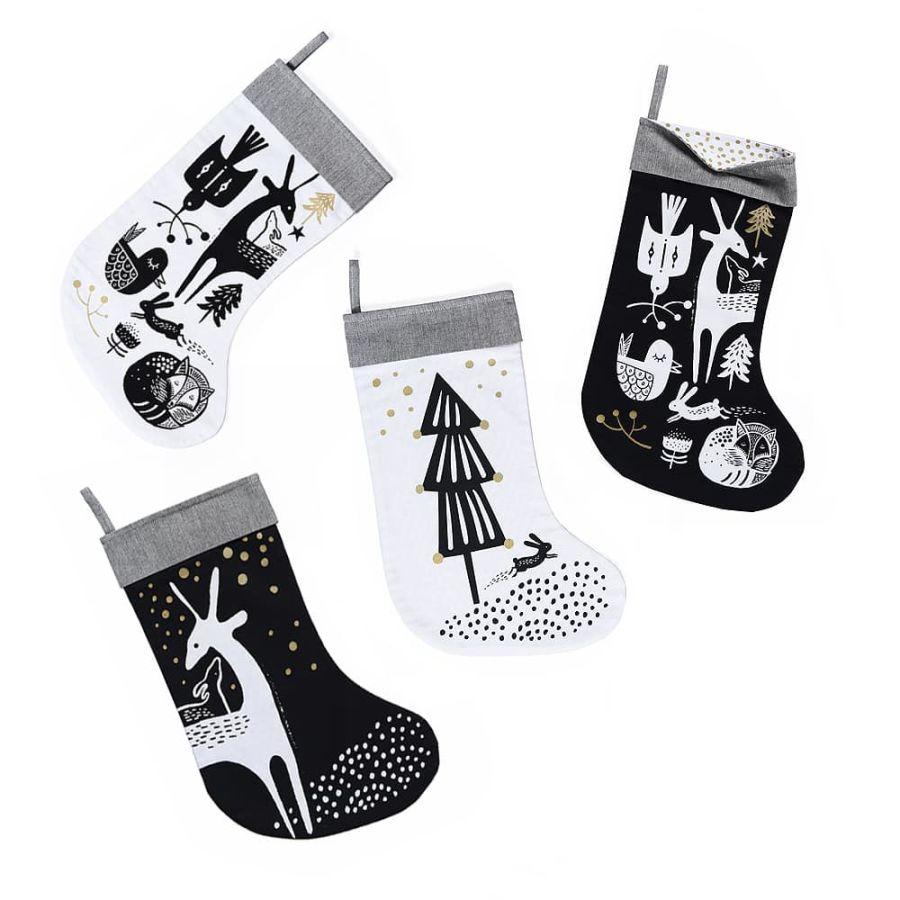 White Deer Christmas Stocking Blackwhitegold Minimench A