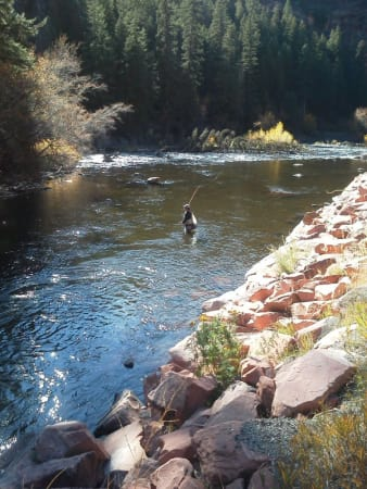 Fly Fishing a run on Frying Pan River near Basalt Colorado