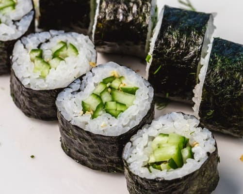 Photo of Vegetables Sushi Roll.