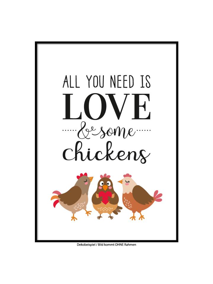 "SMART ART Kunstdrucke Kunstdruck / Poster ""Love and Chicken"" / A4 oder A3"