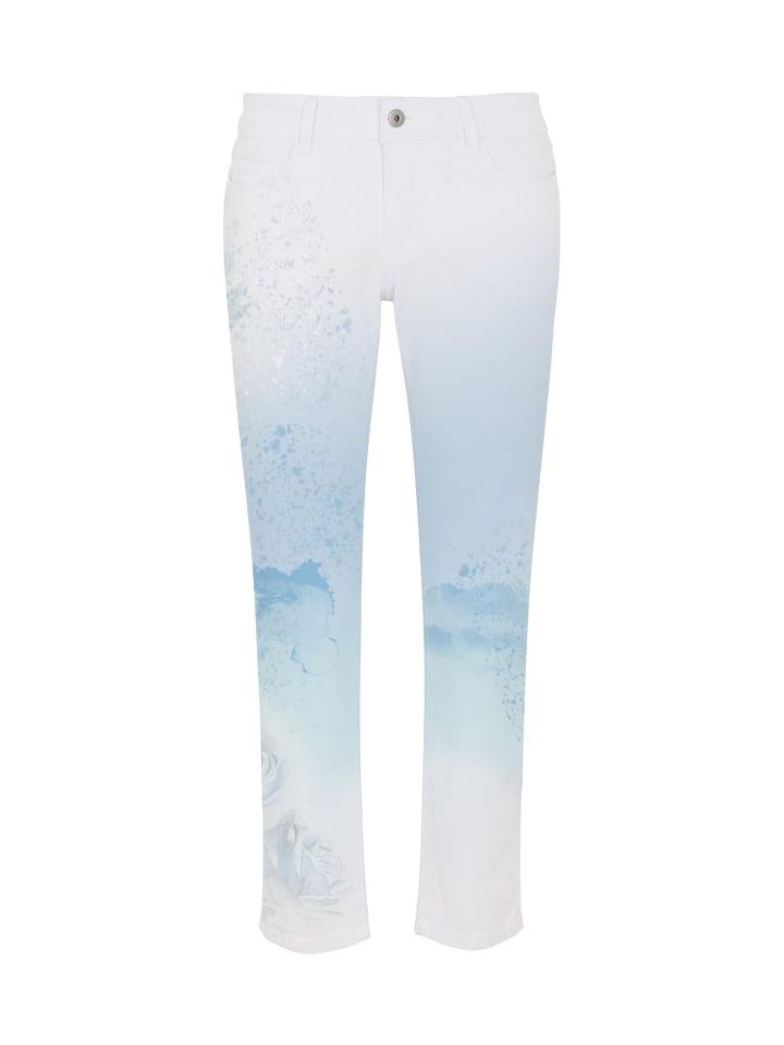 Million X - Women Damen Hose 7/8 Sunny Face Print Rose in perfume blue
