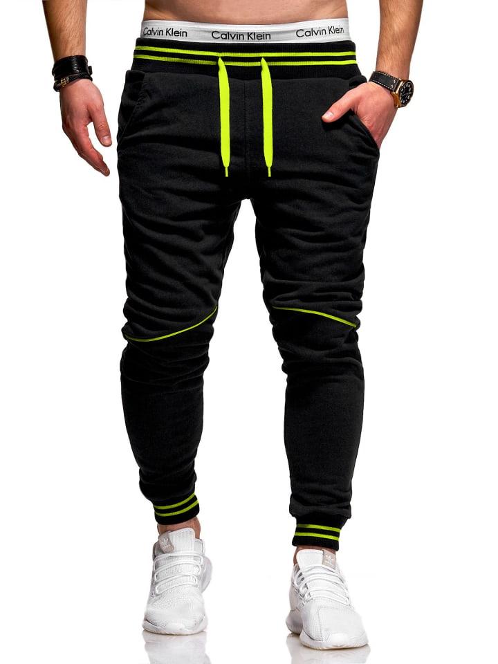 Behype Jogginghose STRIPE in schwarz-neon